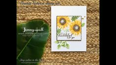 Painted Harvest sunflower card using Stampin Up products with Jenny Hall #cardmaking #scrapbooking #videotutorials #stampinup #jennystampsup #paintedharvest #sunflowers