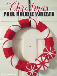 this pool noodle christmas wreath will tickle your sweet tooth with its candy cane design and its so easy to make and budget friendly
