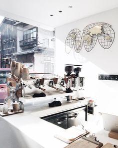 Instagram 上的 Nora Chan:「 But first, coffee. 」 Coffee Bar Design, Coffee Shop Interior Design, Cafe Design, Coffee Shop Counter, Cafe Counter, Bistro Interior, Cafe Interior, Cafe Restaurant, Restaurant Design