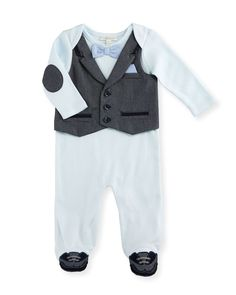 Cotton Jersey Footed Coverall, Blue, Size 3-9 Months