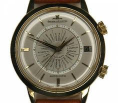 """The ultimate in world traveller's watches, the Jaeger LeCoultre Memovox or """"Voice of Memory"""" World Time vintage mens watch was launched in 1958 for Jaeger's 125th anniversary. This 18ct Jaeger was one of the first automatic wrist watches to feature a date alarm."""