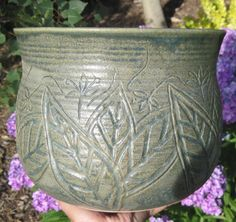 Large Planter with Carvings of Leaves and Flowers  by thewheelandi, $75.00