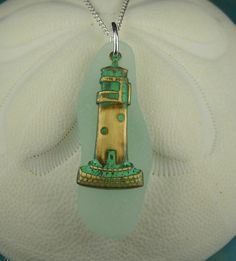 Lighthouse Jewelry Sea Glass Pendant Necklace by seaglassgems4you, $29.00