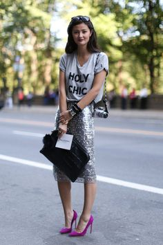 Gorgeous sequin skirt with pink pumps