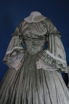 EXQUISITE 10pc taffeta Civil War ensemble! Jacket, 2 bodices, BALL GOWN, & more! | eBay