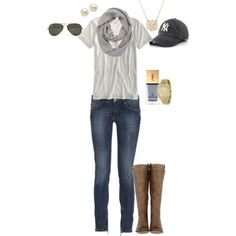 """This outfit needs a Red Sox hat instead -- """"Fall Yankee Game"""" by angela-reiss on Polyvore"""