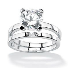 $60 3-Carat Round Cubic Zirconia Platinum Over Sterling Silver Solitaire Bridal Engagement Set at PalmBeach