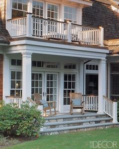 I love the front porch & the veranda Porch And Balcony, House With Porch, House With Balcony, Bedroom Balcony, Side Porch, Front Porches, Outdoor Rooms, Outdoor Living, Jacuzzi