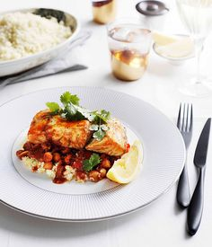 Australian Gourmet Traveller recipe for Moroccan-style barramundi with chickpeas and chilli. Chef Recipes, Seafood Recipes, Healthy Recipes, Barramundi Fish Recipe, Tagine Recipes, Eastern Cuisine, Middle Eastern Recipes, Just Cooking, Gourmet