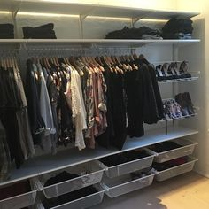 The joy of lots of space: walk-in closet 😍👌 . - Home Decor -DIY - IKEA- Before After Walk In Closet Ikea, Ikea Closet Hack, Ikea Closet Organizer, Closet Hacks, Closet Behind Bed, Wardrobe Closet, Closet Ideas, Ikea Algot, Yurts