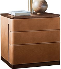 Fidelio Notte Poltrona Frau Bedside Cabinet Nightstand Leather Table Chest