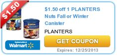 $1.50 off 1 PLANTERS Nuts Fall or Winter Canister exp 12-25-13