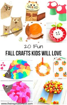 20 Fun Fall Crafts Kids Will Love · The Inspiration Edit : These fun fall crafts are great for the Autumn season and a lot of fun for the kids. Come check out these fabulous ideas. Summer Crafts For Kids, Paper Crafts For Kids, Crafts For Kids To Make, Crafts For Girls, Craft Activities For Kids, Easy Crafts, Art For Kids, Enrichment Activities, Autumn Activities