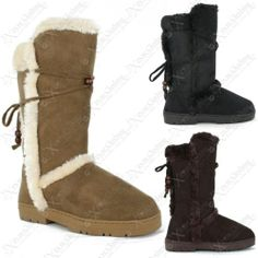 LADIES WOMENS FUR LINED WINTER SNOW BOOTS THICK SOLE TALL FLAT WARM SHOES SIZE | eBay #fashion #shopping #shoes #winter #warm #snow