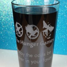 Hunger Games gift handmade sandblasted pint glass, personalized gift idea