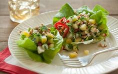 Low Sodium Pineapple and Water Chestnut Lettuce Wraps