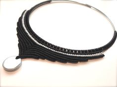 Design black and white Macrame Necklace with by RitaPratesCaetano
