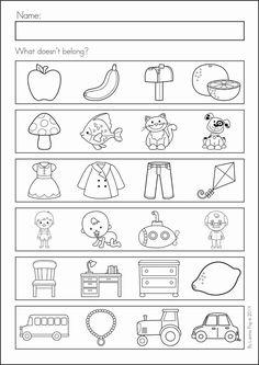 Back to school worksheet for kindergarten