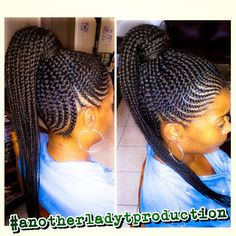 Braided updo with Kanekalon hair crocheted and curled to create the side bang. 35 Lovely braided updo with kanekalon hair. Braided Bun Hairstyles, African Braids Hairstyles, My Hairstyle, Braided Ponytail, Hairstyle Ideas, Twisted Hair, Feed In Braid, Braids For Black Hair, Beautiful Braids