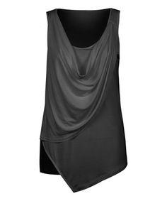 Look at this #zulilyfind! Black Monochrome Faux Leather Drape Tank #zulilyfinds