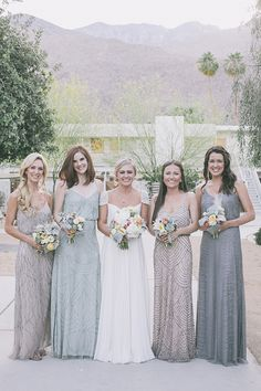 Love this mismatched bridesmaids dresses