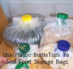 How To Use Plastic Bottle Tops To Seal Food Storage Bags...http://homestead-and-survival.com/how-to-use-plastic-bottle-tops-to-seal-food-storage-bags/