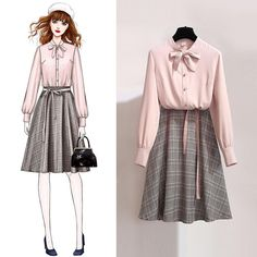 New 2019 Spring Autumn Women Sweet Suits Girls Solid Shirts Tops Plaid Skirts Sets Female Fashion Slim Two Pieces Suit Fashion Drawing Dresses, Fashion Illustration Dresses, Fashion Dresses, Fashion Design Drawings, Fashion Sketches, Korean Outfits, Mode Outfits, Dress Sketches, Dress Drawing