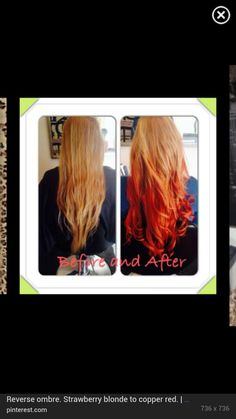 Reverse ombre. Strawberry blonde to copper red.