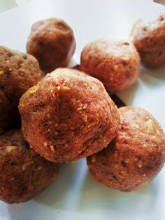 {No Bake} ~ Chocolate Almond Protein Bites Ingredients: 1/4 cup almond butter 1/4 cup plus about 3 Tbsp chopped pitted dates 2 tbsp. almonds 2 tbsp. chocolate protein powder 1/8 tsp pure vanilla extract salt to taste Optional: shredded coconut