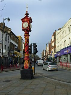 Harlesden High Street. Jubilee Clock, Harlesden One of many clocks erected around the Empire in 1887/8 to commemorate Queen Victoria's Golden Jubilee. The Harlesden clock seems dainty and vulnerable amid the busy road junction which has grown up around it.