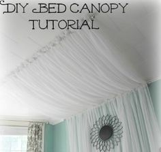 DIY Bed canopy tutorial! Love it! Now add lights behind it