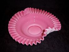 Fenton Pink and White Crimped Console Bowl