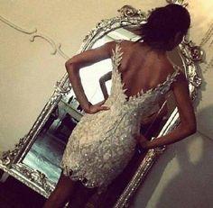 Just amazing.. / dress, glitter, mirror, back