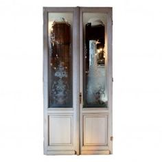"Incredible Antique Salvaged 50"" Exterior Double Doors with Etched Glass"