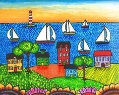 Nova Scotia Summer Sailing  print by AliceinParis on Etsy, $20.00 Artist  Shelagh Duffett