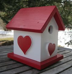 Birdhouse Red and White with Hearts by DayLynnOfAyr on Etsy