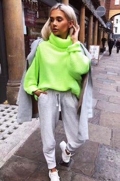 40bf659d417 Neon Lime Green Roll Neck Jumper Dress - Freylynn