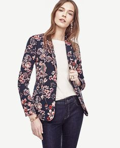 """Strewn in gorgeous geraniums, this tailored piece is a fresh pick - with perfect polish. Notched lapel. Long button-open sleeves allow for versatility in styling. One-button front. Front besom pockets. Back vent. Lined. 26 1/2"""" long."""