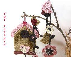 Crochet Birdhouse Garland DIY PDF Pattern Flower Wall Hanging Bird Spring Decor Nursery Decoration Baby Shower Tutorial Download Immediately