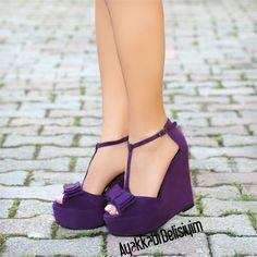 Mor Dolgu Topuklu Ayakkabı #purple #shoelover