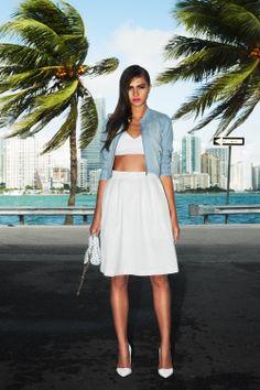 #miami #woman #fashion #whiteskirt