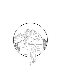 Items similar to Mountain Print on Etsy Original screen print, available in Mini Drawings, Cool Art Drawings, Pencil Art Drawings, Doodle Drawings, Doodle Art, Easy Drawings, Drawing Sketches, Drawing Ideas, Dreieckiges Tattoos