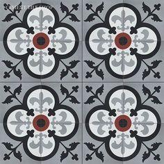 Avignon: pacific grey, white, black and ruby Ethnic Patterns, Tile Patterns, Tiles For Sale, Encaustic Tile, 3d Max, Red Bricks, Tile Design, Handmade Shop, Cement Tiles