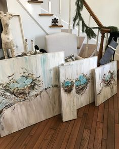 Loving all of these Nest commissions! Tole Painting, Painting On Wood, Painting & Drawing, Farmhouse Paintings, Pallet Art, Paint And Sip, Bird Art, Painting Inspiration, Watercolor Art