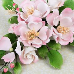 Dog Rose Combo Sprays in Pink are gumpaste sugarflower cake decorations perfect as cake toppers for cake decorating fondant cakes and wedding cakes. | CaljavaOnline.com