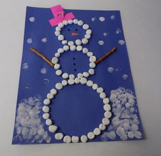 marshmallow snowman, pretzel arms, painting with marshmallows, toddler craft