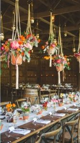 How to decorate for an outdoor wedding! Maybe somebody won't see the cobwebs in the pole shed with these hanging from the rafters!