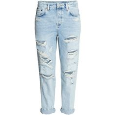 H&M Boyfriend Low Ripped Jeans - Light denim blue - low-rise jeans in washed denim with heavily distressed details, button fly, and slightly wider, tapered djeans Jeans Boyfriend, Vaqueros Boyfriend, Outfit Jeans, Jeans Pants, Trousers, Light Denim, Dark Denim, Blue Ripped Jeans, Skinny Jeans