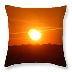 "Double Sunset Glow Throw Pillow 14"" x 14"" by Cynthia Guinn"
