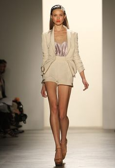 Tailored short suit at Erin Fetherston
